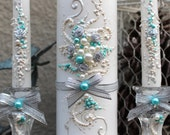Wedding unity candle set, hand decorated with silver ribbon roses & bows, ivory pearls with turquoise accent, Unity ceremony set