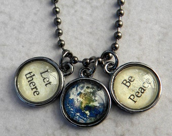 Peace Necklace, Let There Be Peace Necklace, World Peace Necklace, EArth Necklace