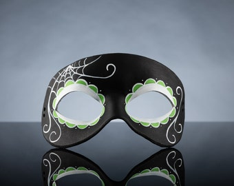 Reverse Green Day of the Dead Side Spiderweb Leather Mask
