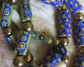 Vintage African Venice Trade Beads and Brass Vintage Necklace