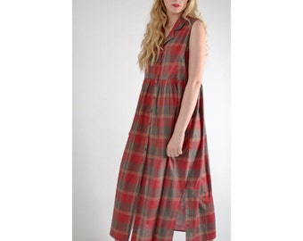 Vintage checked cotton long Midi smock shirt Dress Autumn winter, red, heritage, country plaid easy comfy