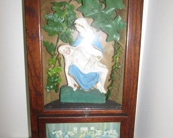 Antique Last Rites Catholic Relic Altar Box Cabinet