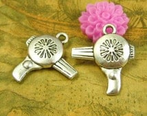 20 pcs Antique Silver Hairdresser Blow Dryer Charms Double Sided 23x20mm CH2321