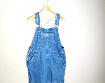 July SALE - 15% Off - Vintage Denim Jean Overall Shorts Bib Dungaree Shortalls // womens medium