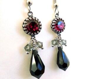 Ruby rhinestone black drop earrings, all Austrian crystal, black teardrop, red set stone, crystal dangles, antiqued silver red black jewelry