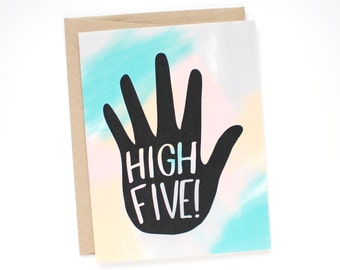 Graduation Card - Congratulations Card - High Five Card - Congrats Card - Card for a Friend
