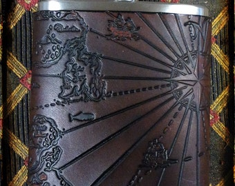 Pirate map 6 oz leather pocket flask