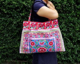 Ethnic Hmong Bag, Boho Handbag, Large Hill Tribe Bag, Thailand Hilltribe Bag, Embroidered Fabrics Tote Bags