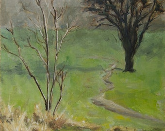 Plein Air, Winter Morning, landscape oil painting