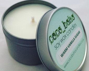 WARM VANILLA SUGAR scented soy wax travel tin candle 100g