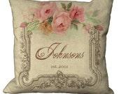 Linen Rose Frame Custom  Choice of 14x14 16x16 18x18 20x20 22x22 24x24 26x26 inch Pillow Cover