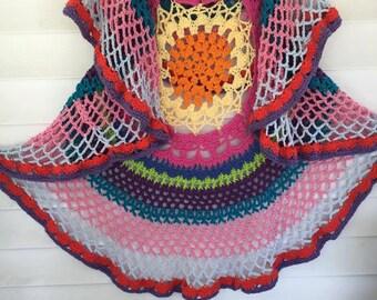 Bohemian Vest - Crochet Bohemian Vest - Boho Vest - Hippie Vest - Mandala Vest - Long Vest - Crochet Boho Vest - Free Shipping - Vegan