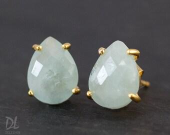 Aquamarine Stud Earrings - March Birthstone Post Earrings - Gold Stud Gemstone Earrings - Tear drop Stud - Prong Set studs