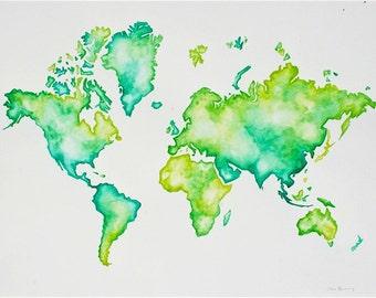 Turquoise World Map