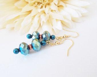 Teal Blue Earrings, Czech Glass Earrings, Pearl Drop Earrings, Teal Earrings, Beaded Earrings, Bridesmaids Earrings, Wedding Clip On Earring