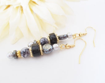 Hematite Earrings, Bohemian Glass Earrings, Dark Gray Pearl Earrings, Boho Earrings, Black Beaded Earrings, Clip On Earrings, Hypoallergenic