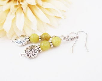 Lime Green Jade Earrings, Boho Chic Earrings, Bohemian Earring, Clip Ons, Olive Green Earrings, Pagan Jewelry, Natural Jewelry, Gift for Mom