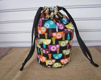 Knitting project bag, crochet bag, scandi mushrooms