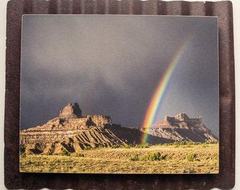 8 x 10 photo on vintage metal- Desert Rainbow