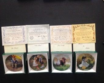 Artist D. Zolan 4 Miniature Plates