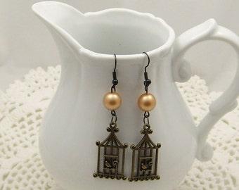 Pearl Birdcage Earrings