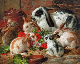 A Family of Rabbits - Cross stitch pattern pdf format