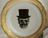 "Skull ""Best Man"" Skeleton Groomsman & Tophat, Wedding Plates Gold or Silver, Dinnerware, Halloween Wedding Dishes, Goth Wedding, Steampunk"