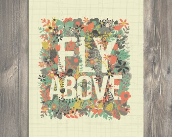 Scripture Art, Christian Art, FLY ABOVE art illustration, art print - Bloom by Amylee Weeks home decor