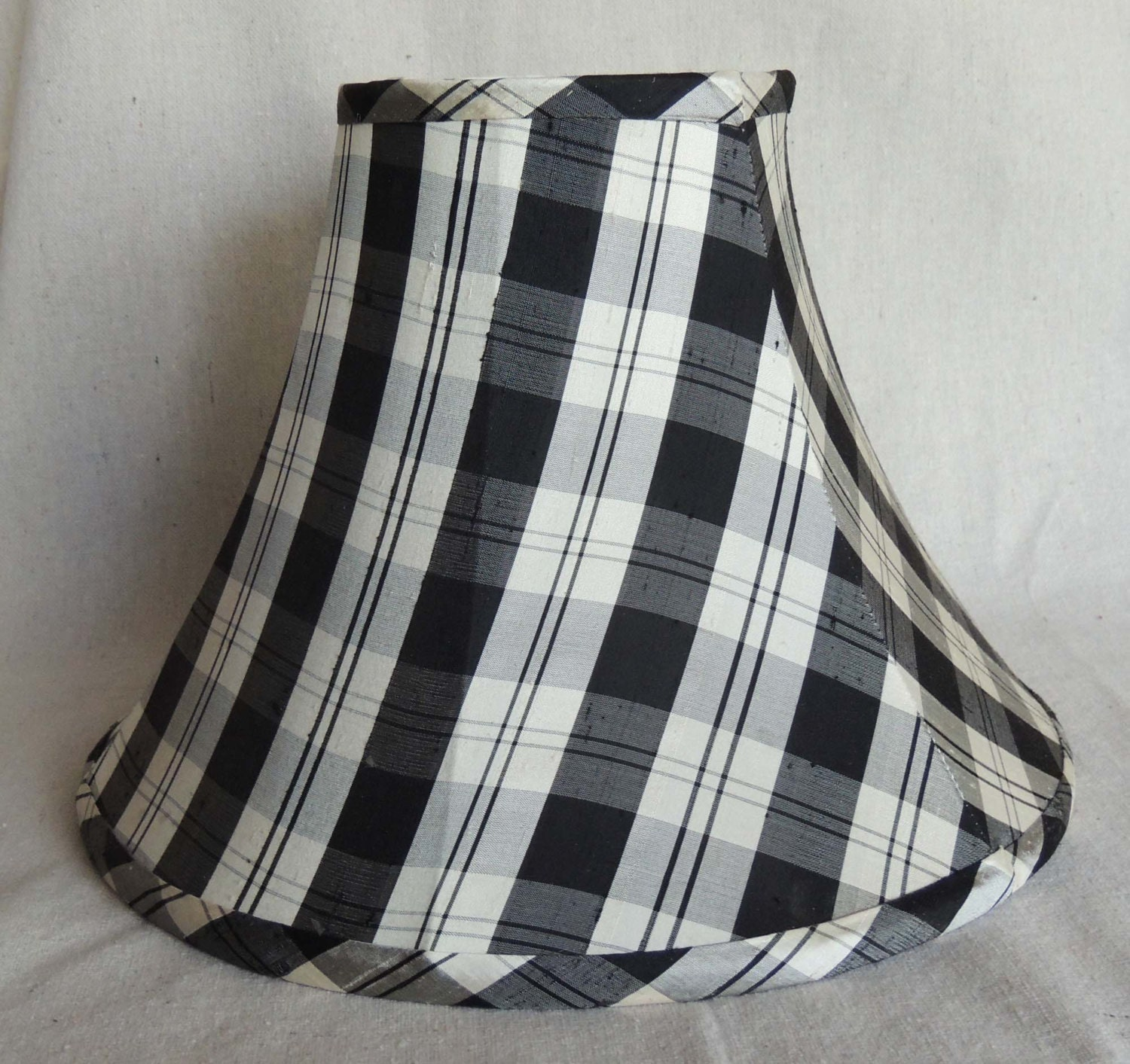 Small candle clip lamp shade made from black and white polka   Black And White Lamp Shades