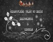 Christmas is here Happiness and Cheer Art Print, Christmas Wall Art, Wall Art, Chalkboard Script Print, Christmas Print, Christmas printable