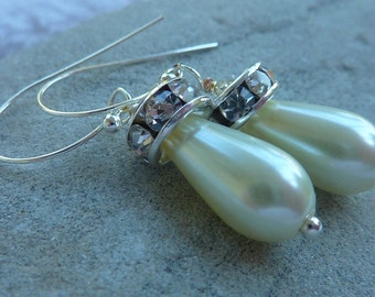 Earrings: Ivory pearl teardrops topped with Rhinestones for bridal or prom