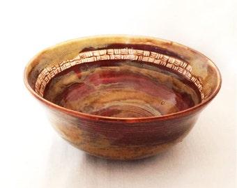 Maroon, Tan, Brown Ceramic Bowl with Zentanlge Design, Ceramic Serving Bowl, Salad Bowl, Pasta Bowl, Soup Bowl