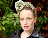 Green roses floral headband fascinator with veil
