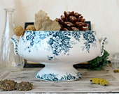 French antique Saint-Amand & Hamage tureen floral pattern ironstone transferware authentic french country shabby chic