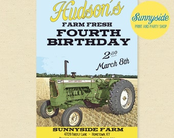 Green Tractor Birthday Invitation, Boys Farming Birthday Party Printable Invite, Retro, Vintage, Classic