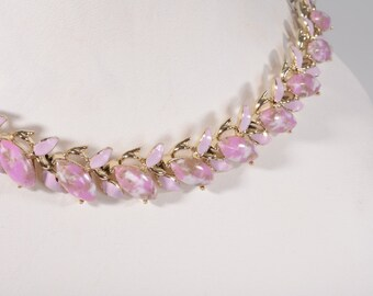 Vintage 1950s Choker Necklace Pink Enamel Wedding Necklace Bombshell Bride 1960s Organic Leaves