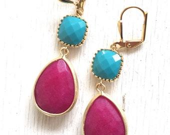 Summer Jewel Dangle Earrings with Fuchsia Teardrop and Turquoise Circle Jewels. Long Dangle Earrings.Holiday Jewelry. Christmas Gift.