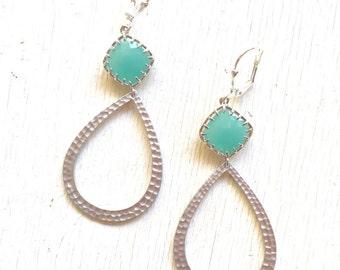 Aqua Jewel and Silver Teardrop Earrings.  Statement Earrings.  Dangle Earrings.  Jewelry Gift.  Dangle Earrings.  Jewelry.