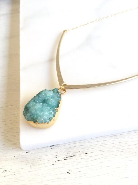 Druzy Necklace. Bib. Aqua Geometric V Pendant Necklace.  Geode Necklace. Druzy Jewelry. Teal Geode Necklace. Aqua Gold Necklace. Gift.