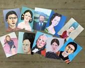 "Art postcards // ""Historical Portraits"" Postcard Set // 10 postcards of original portrait paintings by Isabella Di Sclafani"