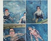 "Swim art postcards // ""Swimming Pool"" Postcard Set // 4 postcards of original paintings // swimming pool art"