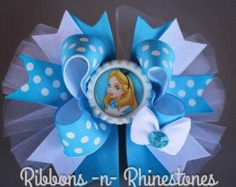 Alice in Wonderland Bow, Alice in Wonderland Boutique Hair Bow, Alice Birthday Bow, Through the Looking Glass Bow, Alice in Wonderland Party