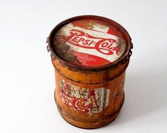 SALE vintage Pepsi-Cola 10 gallon concentrate can, Pepsi drum