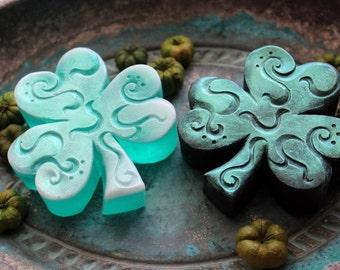 SHAMROCK SOAP, St. Patrick's Day, Irish Shamrock Soap, Set of 2 Shamrocks, Scented in Green Clover & Aloe, Vegetable Based, Handmade
