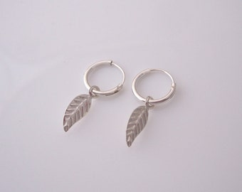 Sterling silver small leaf charms small sleepers hoops, kids, girls earrings
