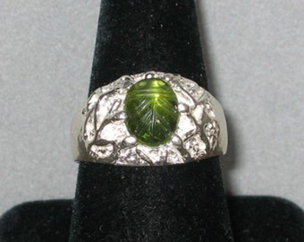 Carved Peridot in Cast Sterling Silver Ring, Size 9 1/2