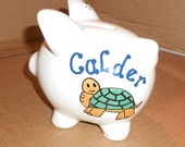 Personalized Ceramic Piggy Bank Turtle Or Frog Small Boy Gift Baby Gift