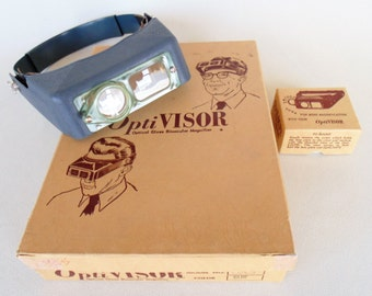 OptiVisor #5 With The ADDITIONAL OPTILOUPE Accessory Optical Glass Binocular Magnifier New In Box Never Used