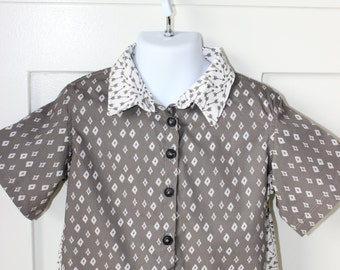 Gray Diamond Print Bowling Shirt Size 3