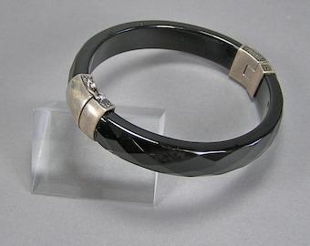 Vintage Chinese Faceted Black Glass Bangle, Large, Stacking Bracelet